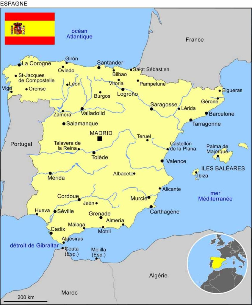 Madrid - Carte Espagne