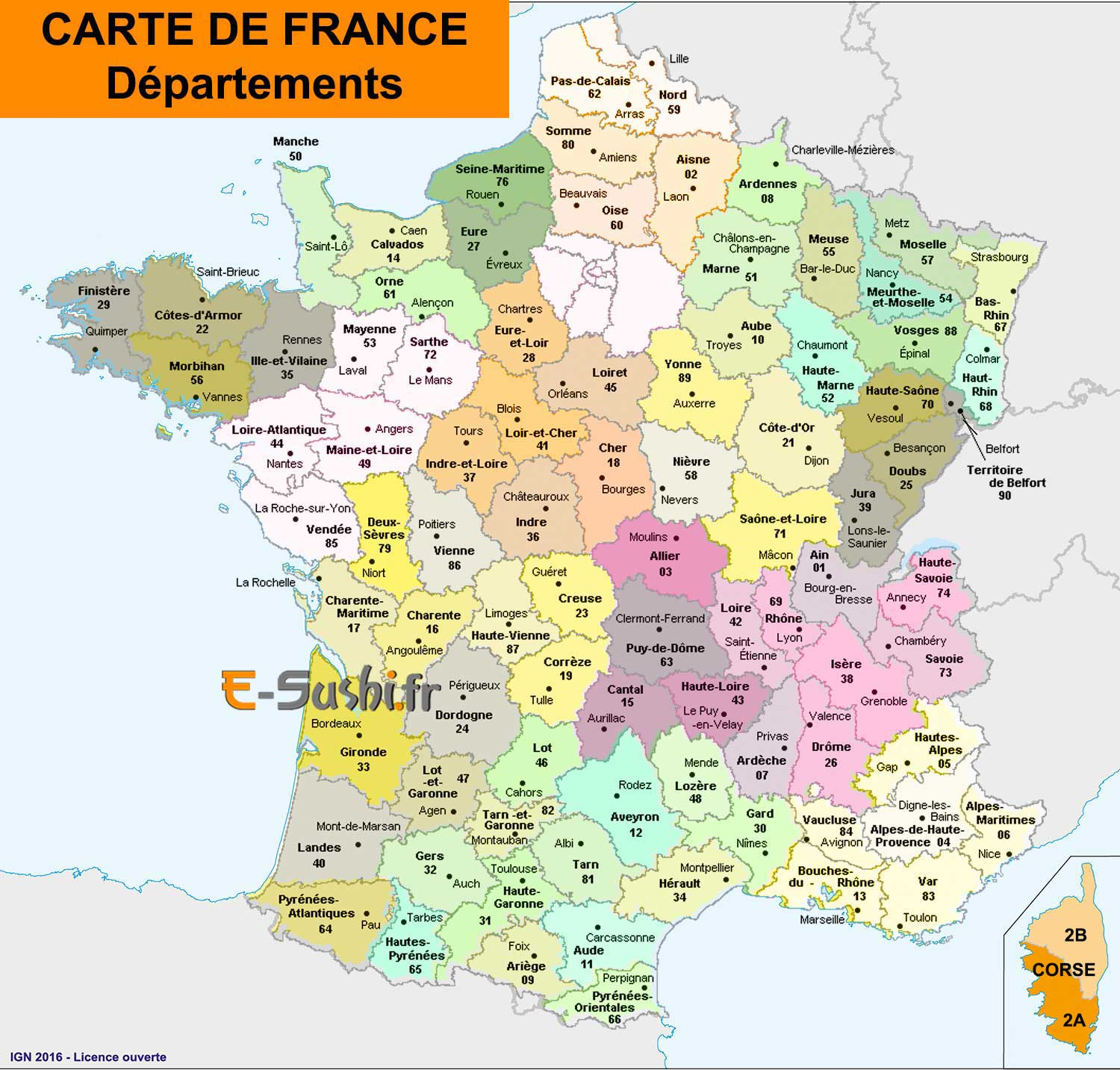 Carte France départements