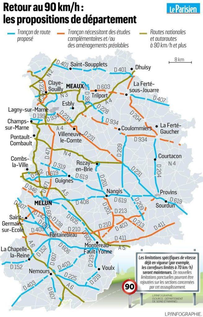 Carte routière département de Seine-et-Marne