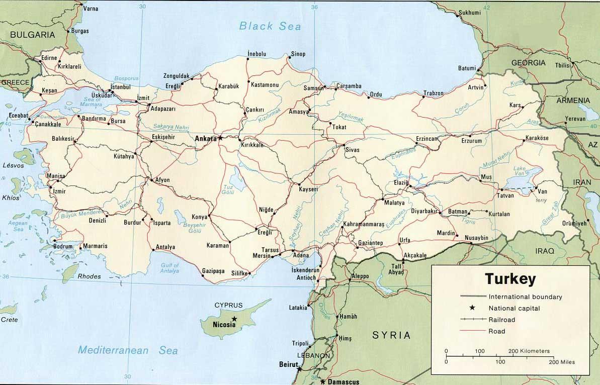 Carte routière – Turquie