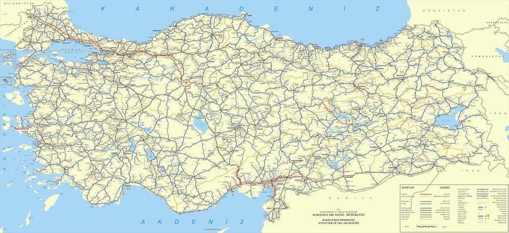 Carte routière - Turquie