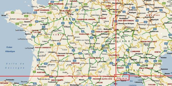 Carte routière France-Italie