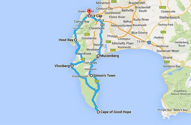 Itinéraire et carte du Cap de Bonne-Espérance en Afrique du Sud