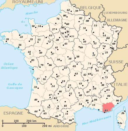 Carte de France - Département-Var