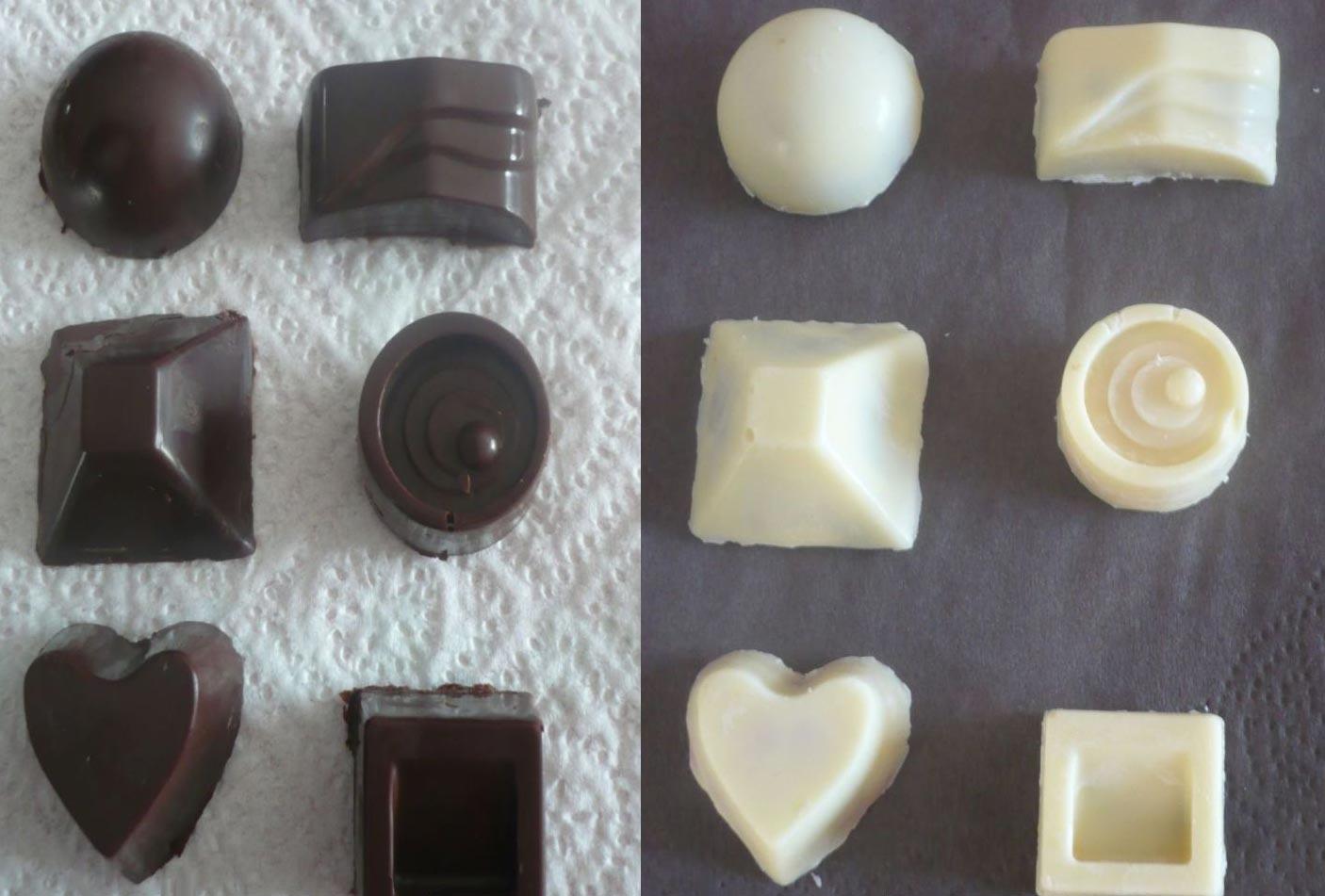 Bonbons au chocolat blanc ou noir