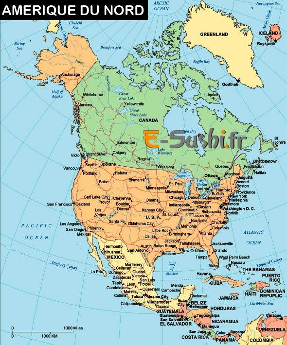 Amérique du Nord - Carte