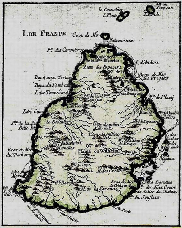 Carte - Ile Maurice - Compagnie des indes