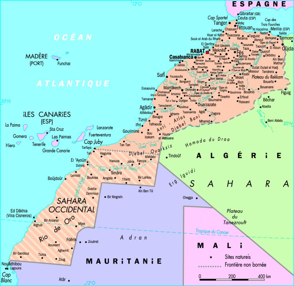 Carte des régions et des frontières du Maroc