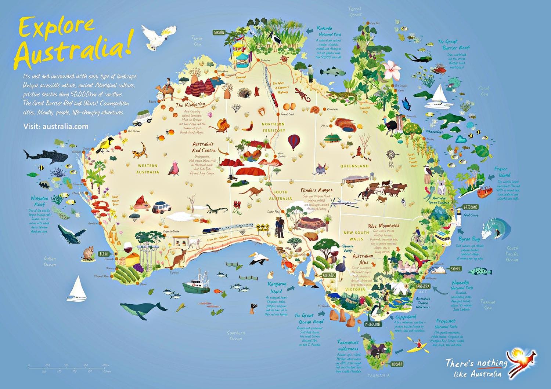 Partir en australie pour le sport ou les vacances arts for Carte touristique