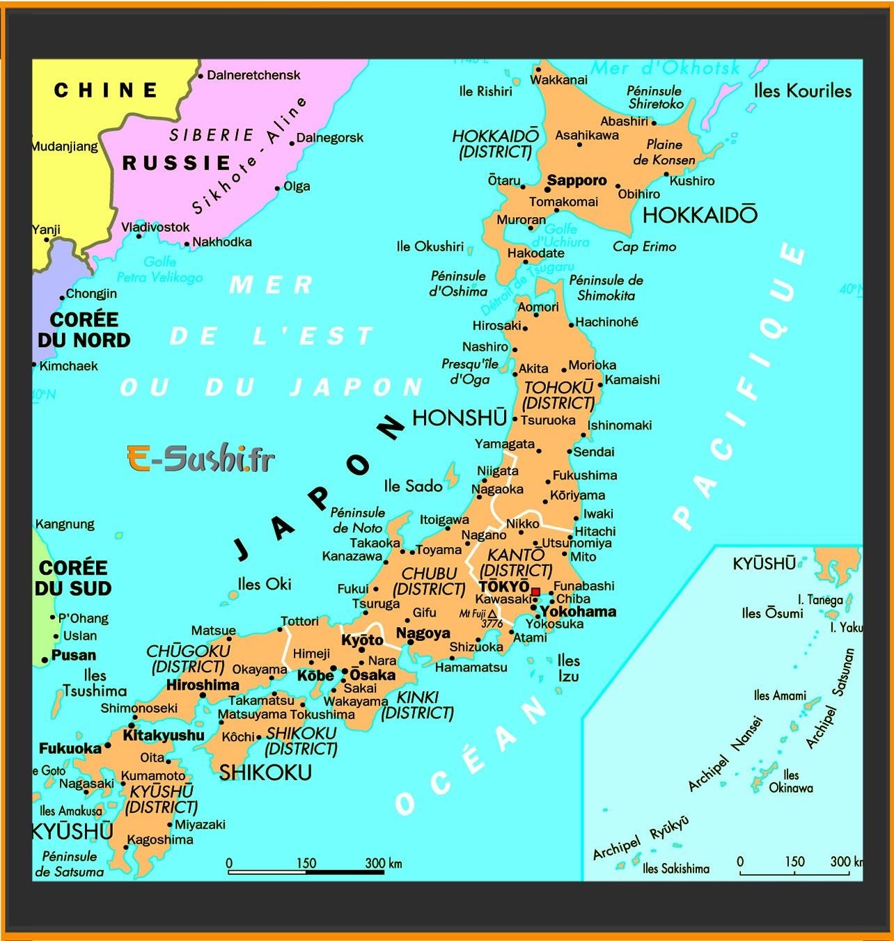 Carte du Japon - Géographie