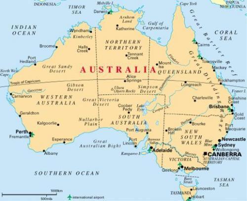 Australie - Carte géographique
