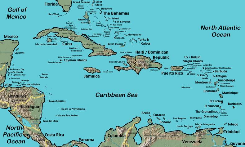 Carte géographique des Antilles
