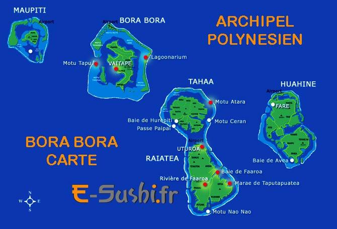 Carte des îles polynésiennes avec Bora Bora