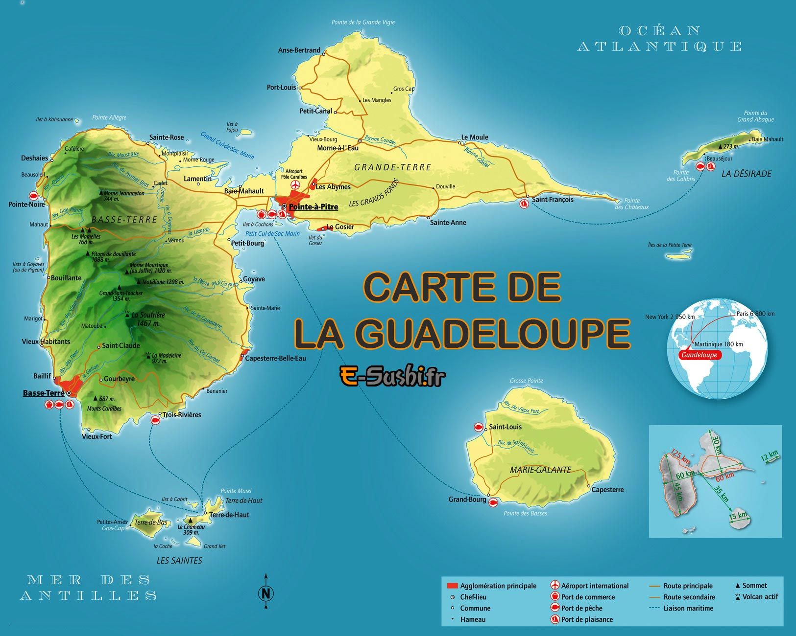 Guadeloupe - Grande carte détaillée