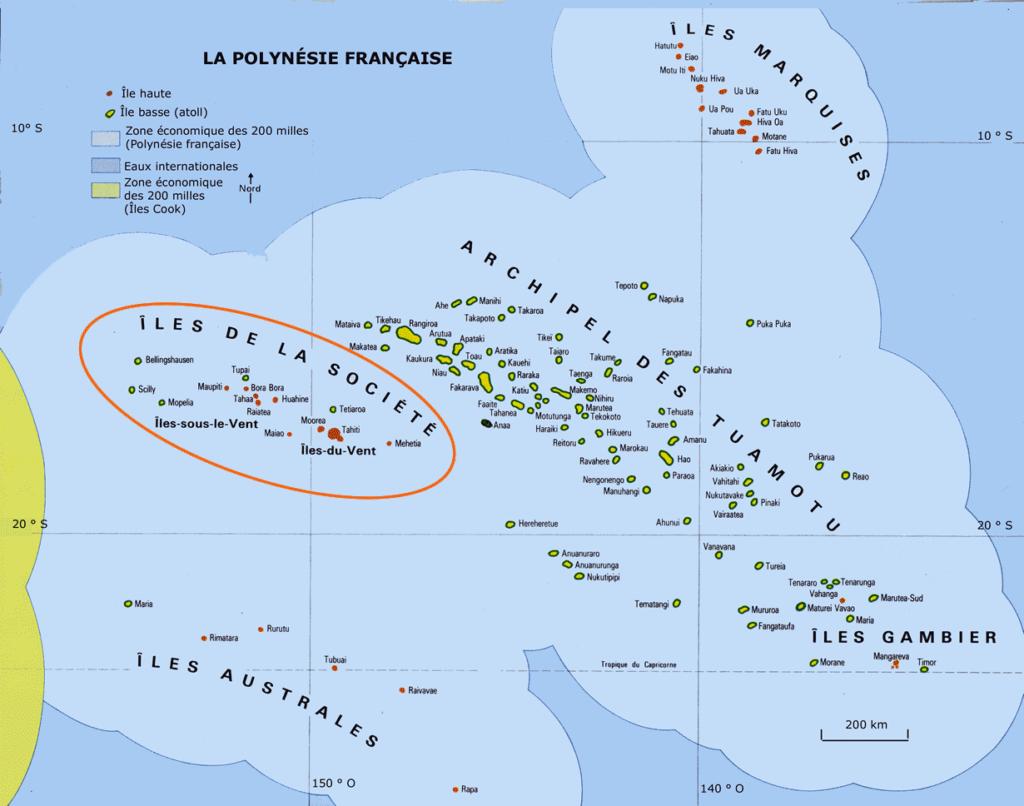 Carte de la Polynésie