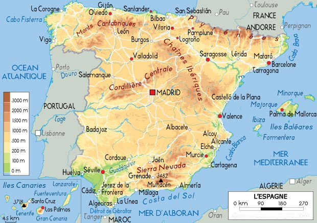 Carte de l'Espagne