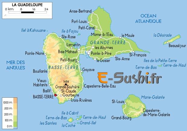 carte île de la guadeloupe et villes