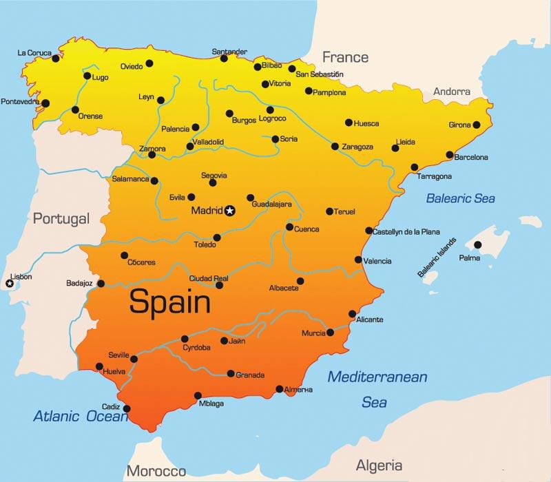 Carte Espagne avec villes