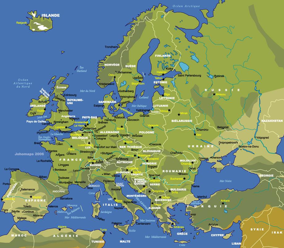 Carte Europe détaillée : pays - capitales et villes européennes