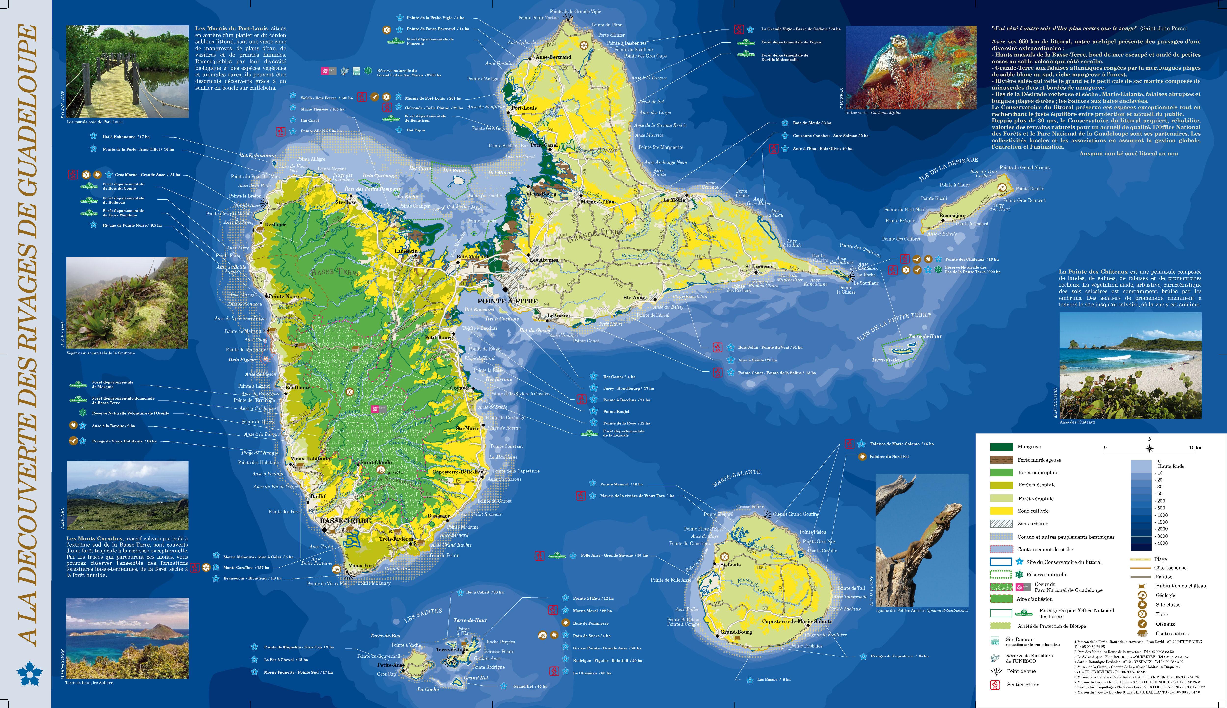 Grande carte touristique de la Guadeloupe