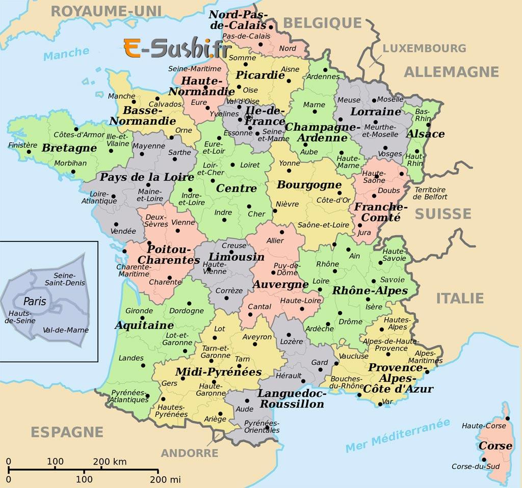 Carte de France villes à imprimer » Vacances   Arts  Guides Voyages