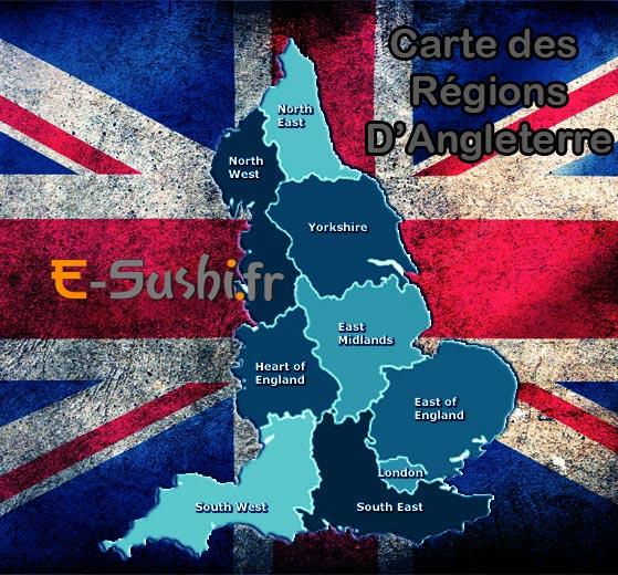 Carte des régions d'Angleterre