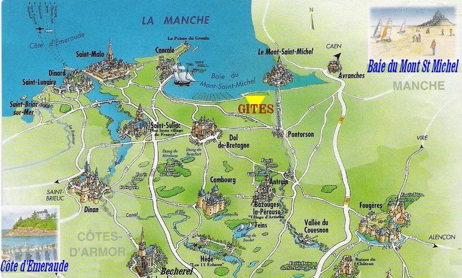 Carte de Bretagne - baie du mont saint-michel