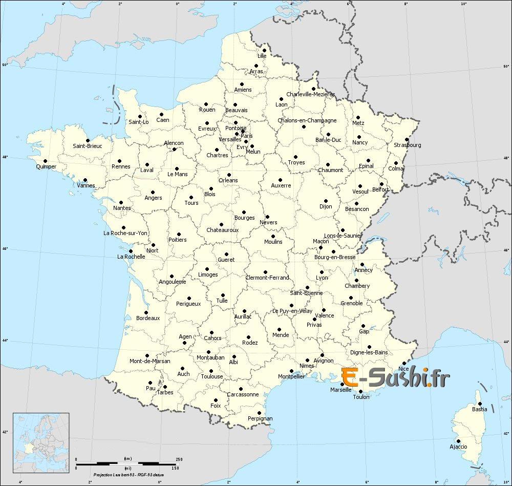 Carte administrative de France avec ses principales villes