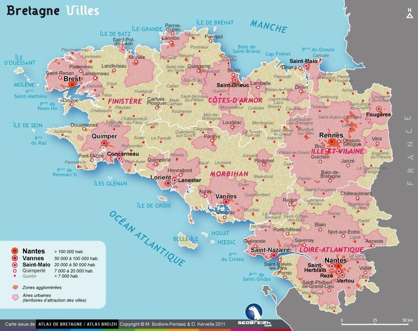 Carte villes Bretagne - Communes principales