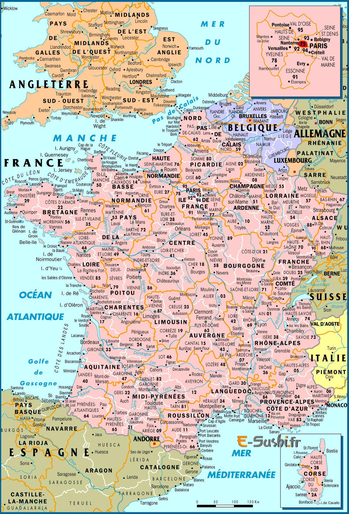 Carte de France avec Pays de l'europe