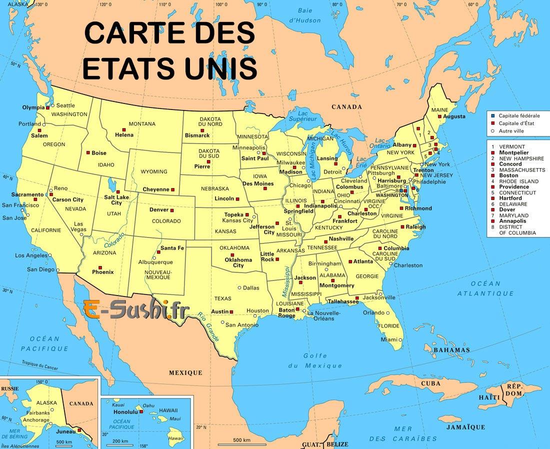 Carte des états unis