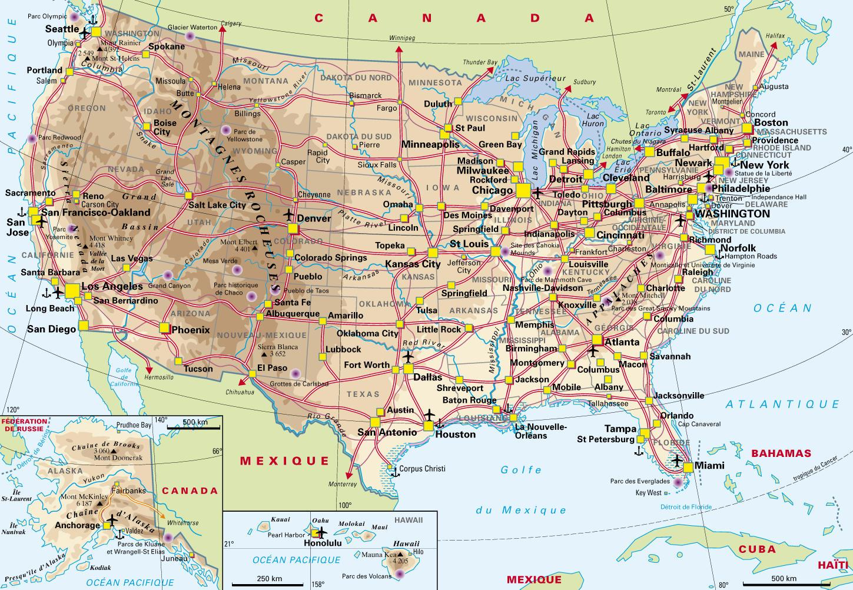 carte routière états unis