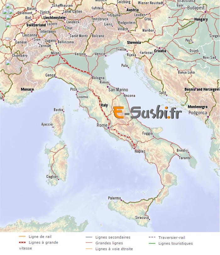 Plan du réseau ferroviaire de l'Italie