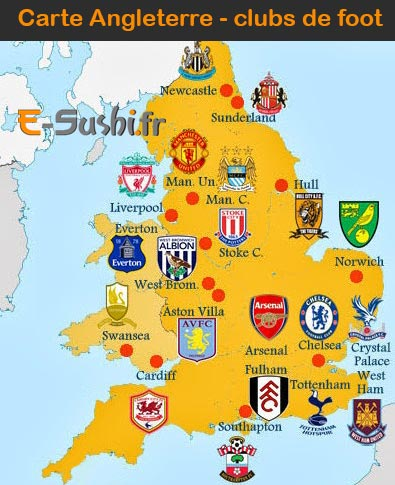 Carte Clubs de Foot - Angleterre