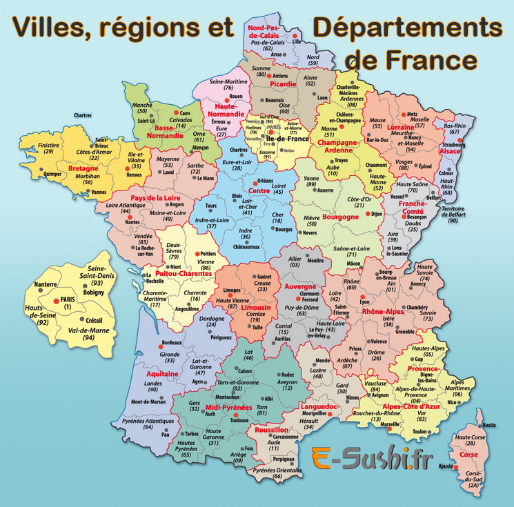 Info • carte de france region departement fleuve • Voyages - Cartes