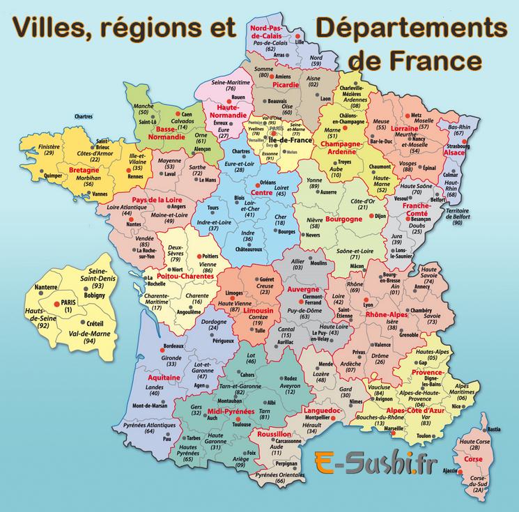 carte de france avec departement et villes