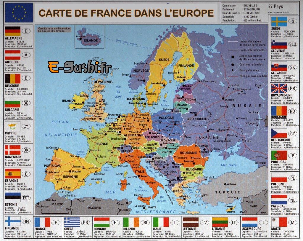 Carte France-Europe avec villes