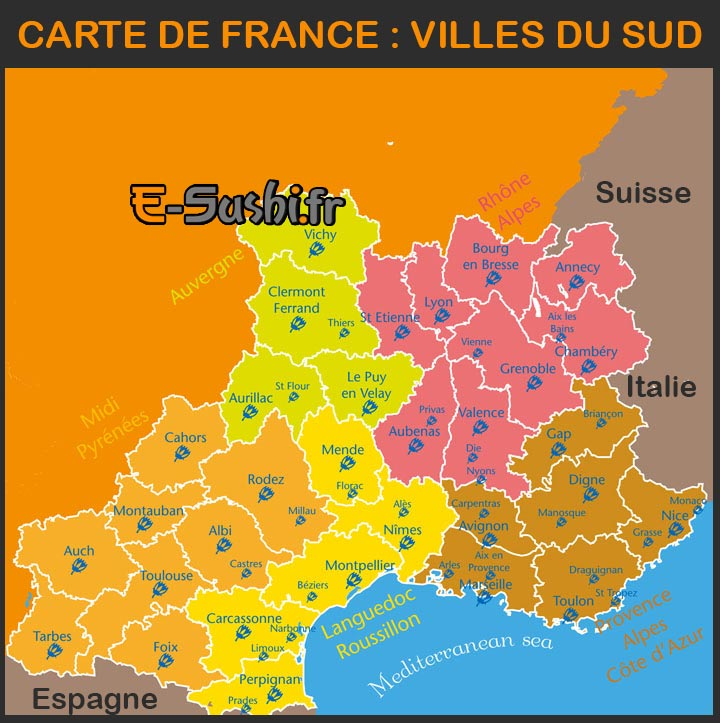 Carte De France Villes Du Sud | My blog