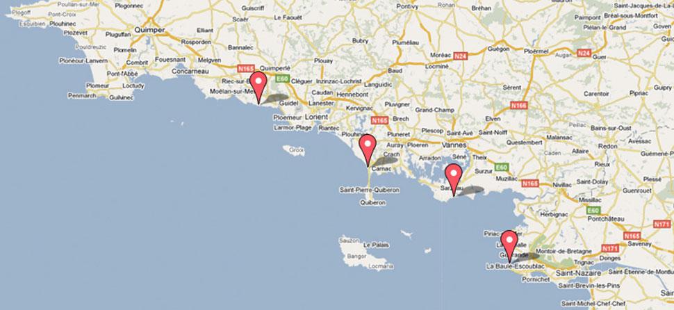 carte géographique des villes de la bretagne sud