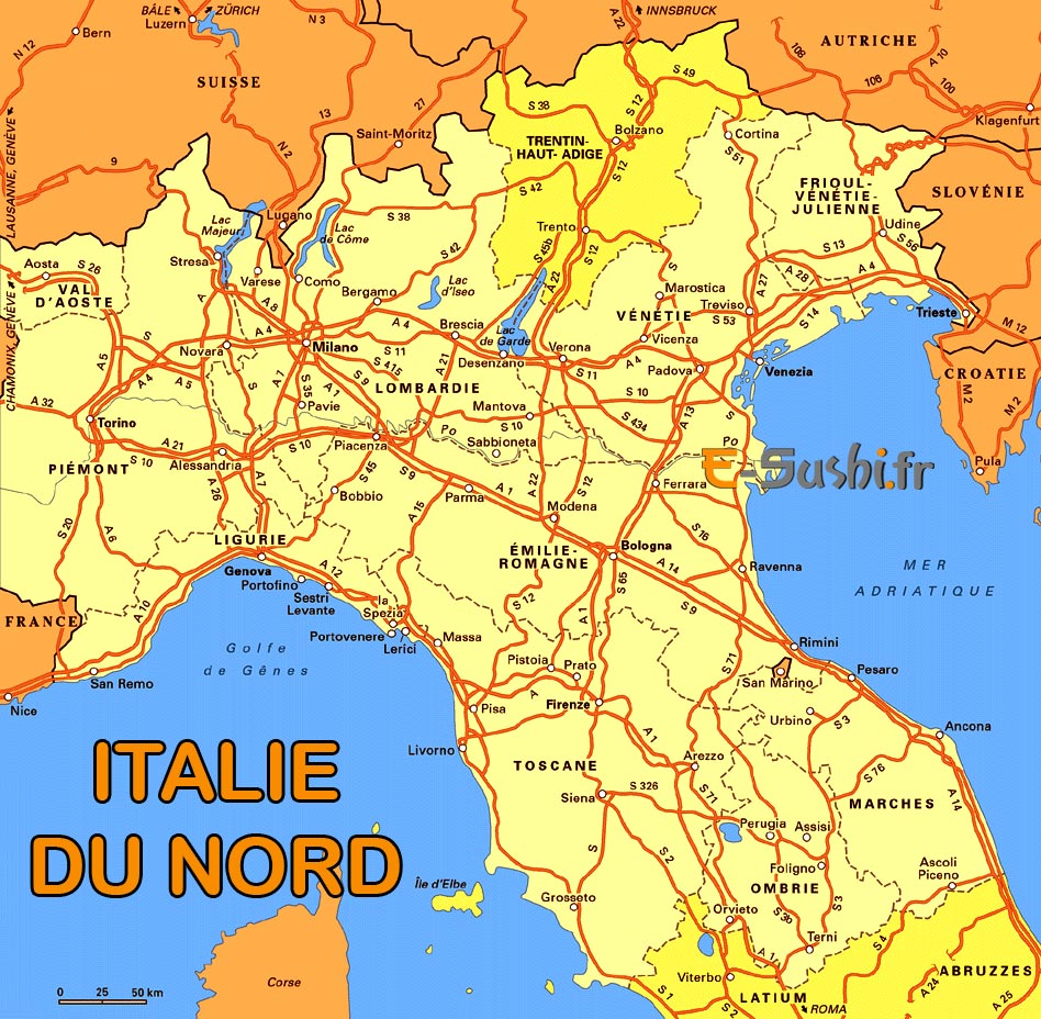 Carte Italie Nord