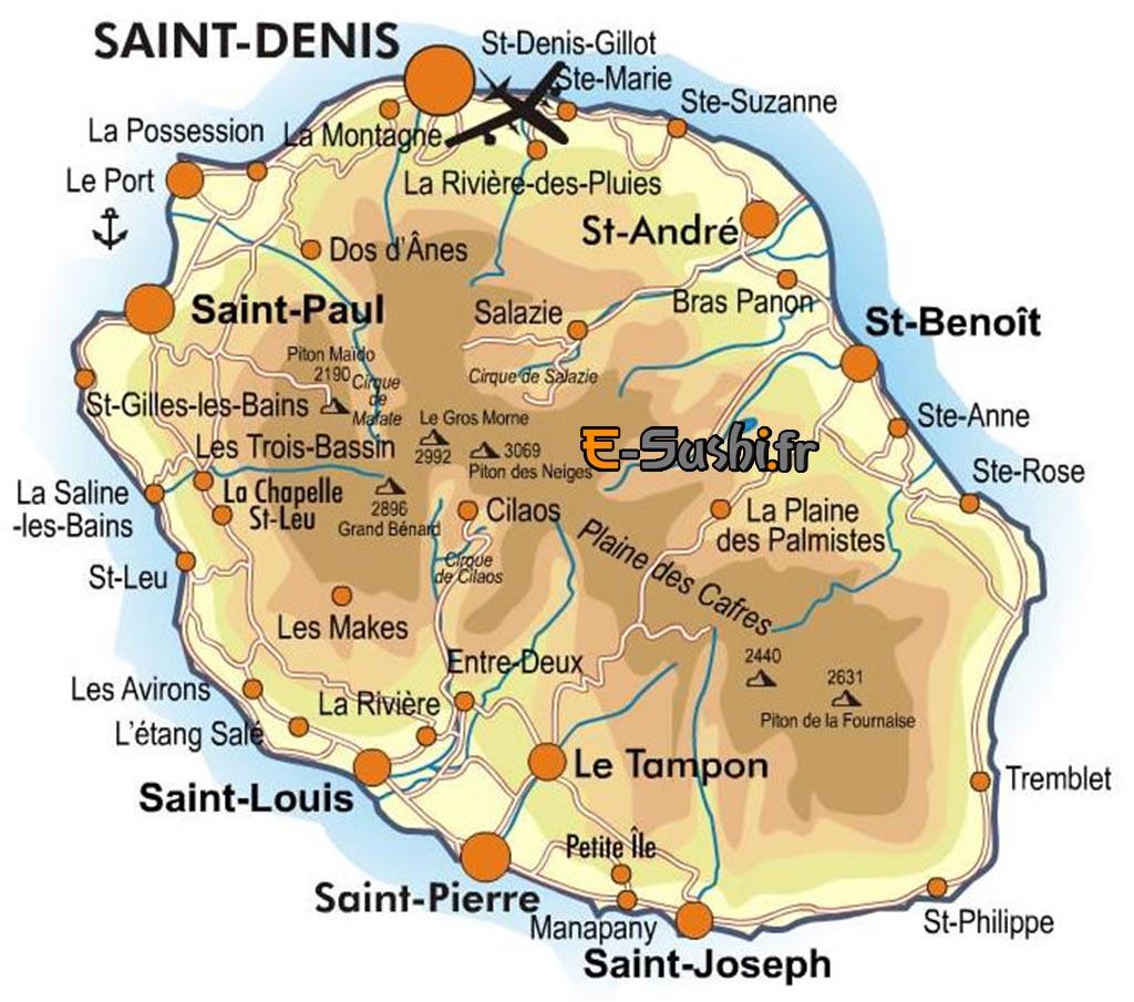 Carte de la Réunion - Villes