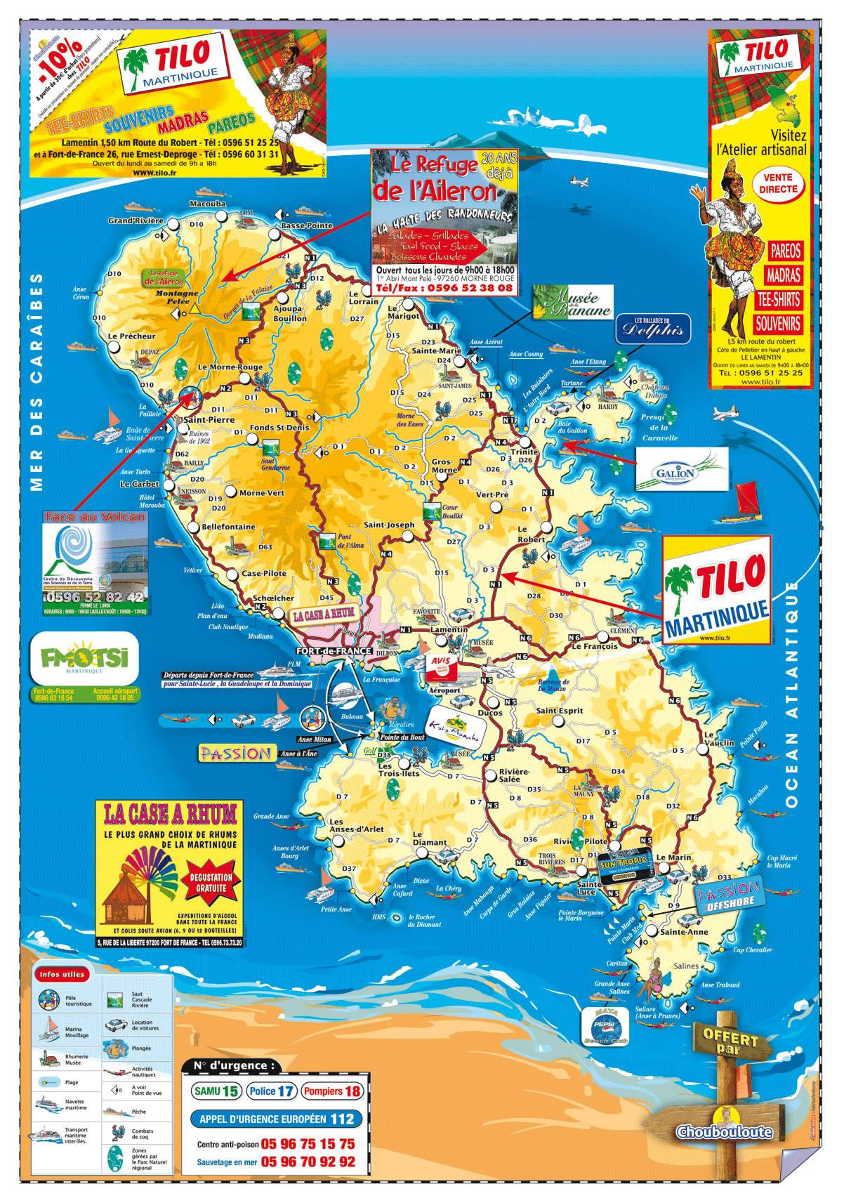 carte martinique touristique-informations