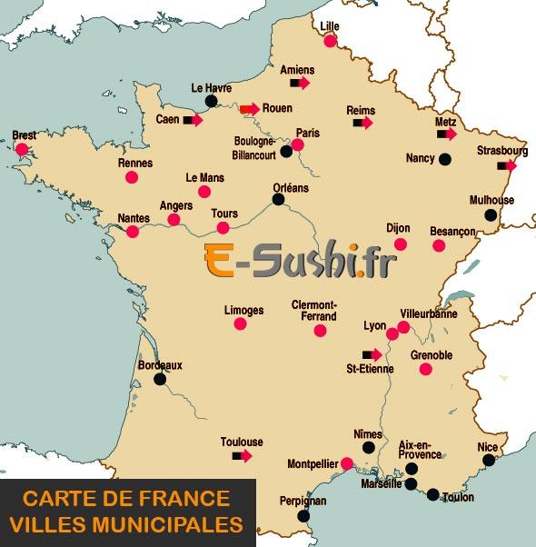 Carte des villes de France - Municipales