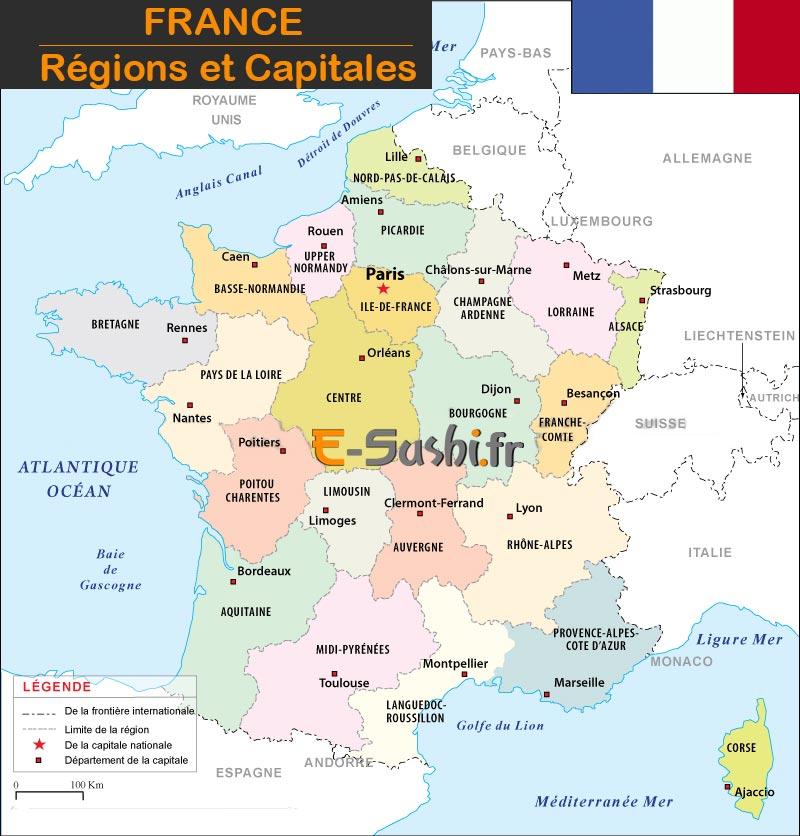 Carte régions et capitales de France