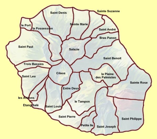 carte de la réunion avec les communes