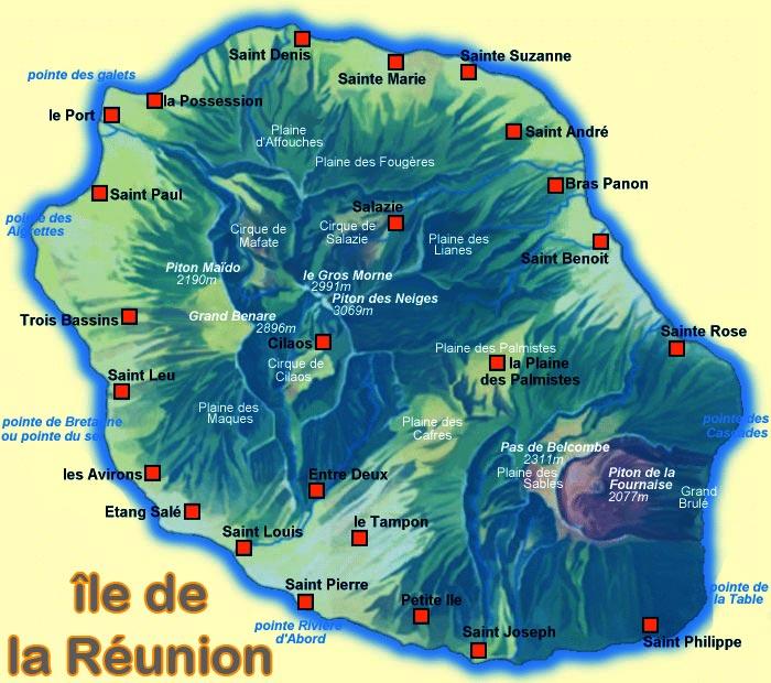 Carte détaillée : île de la réunion