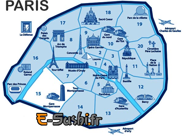 Carte arrondissements - Plan simple des monuments