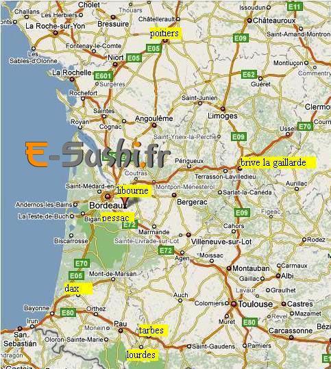 Carte de France du Sud-Ouest