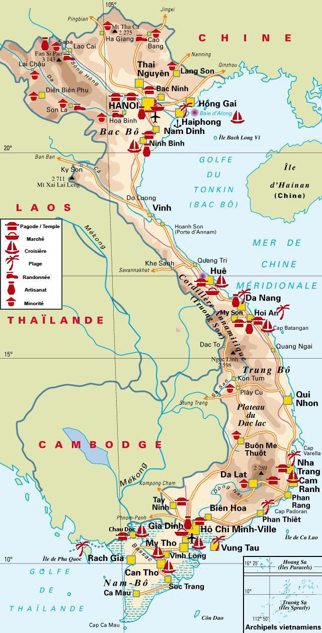 Vietnem - Carte géographique
