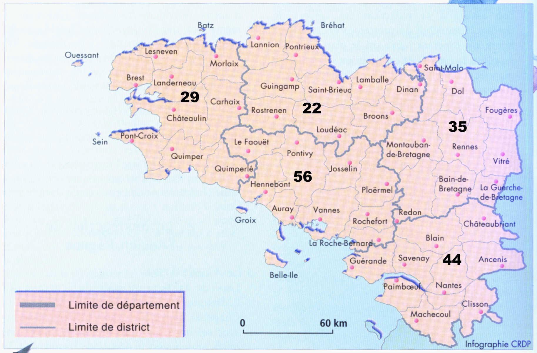 Carte de Bretagne avec villes principales - images et photos - Arts et Voyages